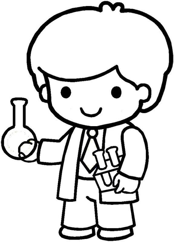 Coloriages personnages et metiers page 5 - Coloriage petit scientifique ...