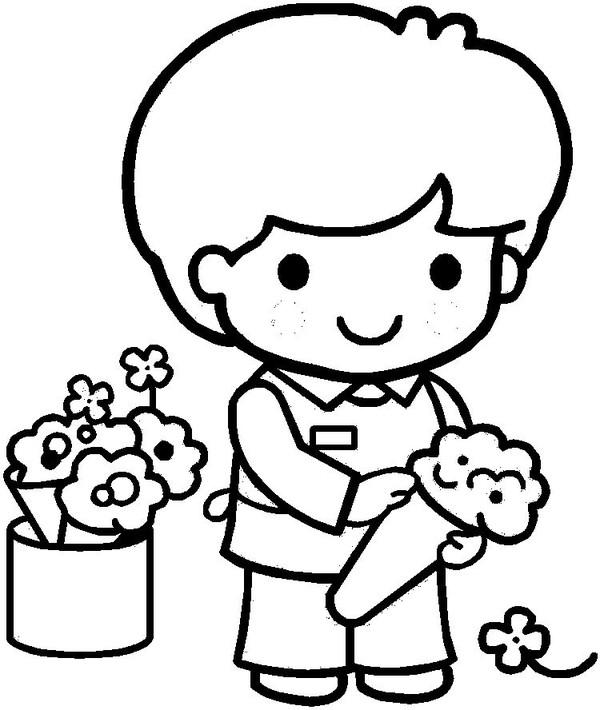 Coloriages personnages et metiers - Fleuriste dessin ...